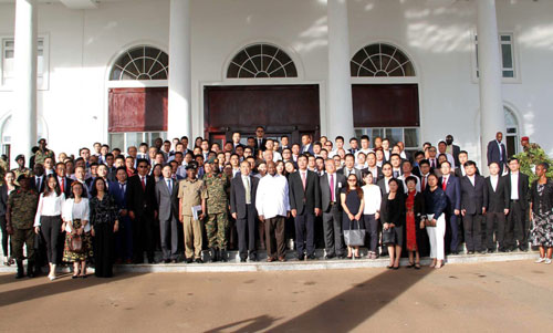 PRESIDENT YOWERI MUSEVENI MEETING SINOAFRICA MEDICINES AND HEALTH CHINESE STAFF AND OTHER CHINESE BUSINESS COMMUNITY AT THE STATE HOUSE ENTEBBE ON 14TH /NOV / 2018.